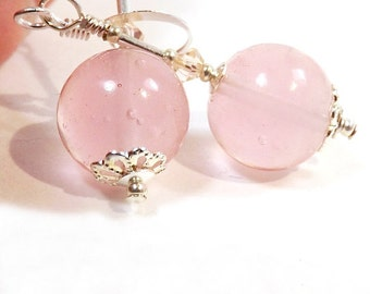 Light Pink Murano Glass Bead Earrings, 1 1/8 inches (2.8cm) Long, Translucent Pink Drop Earrings, Italian Glass Bead Dangles, Silver Accents