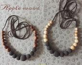FLASH SALE Charcoal Nursing Necklace - Choose your wood type, Apple Wood or Juniper Wood