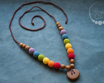 Double Rainbow Teething Necklace for Mom / Wood Nursing Necklaces / Breastfeeding Mama & Babywearing Accessories - KangarooCare Europe
