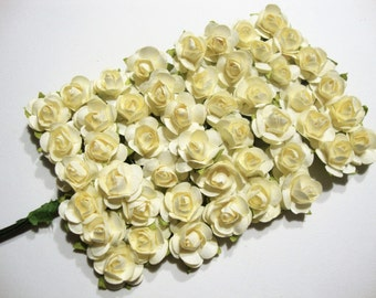 Mini Ivory Mulberry Paper Roses Flowers - 4 Bunches
