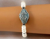 Freshwater pearl bracelet, Raku focal, hypoallergenic bracelet, blue, white bracelet, gift for her, gifts under 25, pearl jewelry