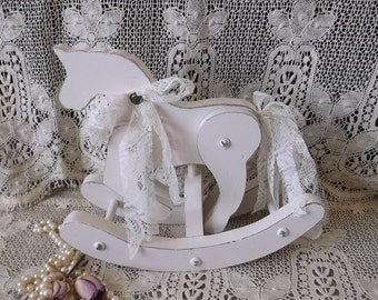 Shabby Cottage, Wood Rocking Horse, Creamy white, distressed, cottage nursery, rustic chic, small