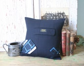 Navy Wool Menswear PILLOW COVER - Suit Jacket Pocket, Necktie