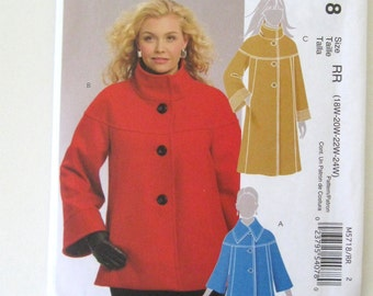 2000s Plus Size Jacket and Coat Pattern, McCalls M5718, Lined Winter Outerwear Sewing Pattern, Womens Size 18W-24W Bust 40-46 UNCUT