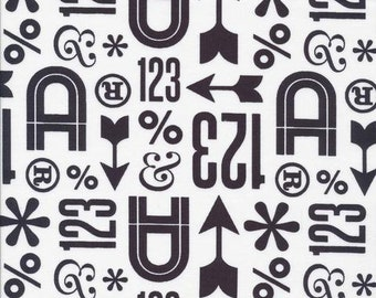Typography Fabric by Jessica Jones Wood Type in Black and White Cloud 9 Fabrics