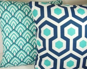 Navy Aqua OUTDOOR Throw Pillow COVERS Decorative Pillow Cushion 3 Sizes Accent Pillow for Couch Patio Sofa Aqua Navy White Lalo Magna