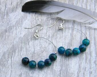 Hoop earrings gemstone beaded earrings blue agate hoops bohemian jewelry gypsy earrings