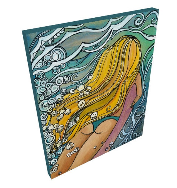 16x20 Canvas Print of a Cute Surfer Girl Duckdiving under Swirling Ocean Waves by Lauren Tannehill ART