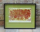 Mid Century Color Woodcut Signed E Spanler '65 and titled Rooster