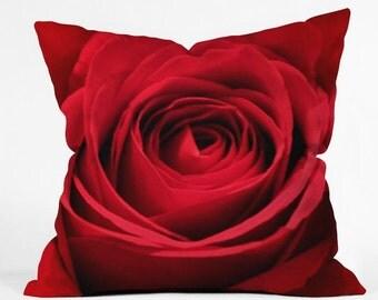 Throw Pillow. Dorm Decor.  Living Room Decor. Red Rose. Floral. Flower. Girly Home Decor