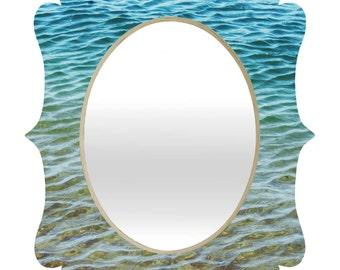 Decorative Wall Mirror. Bathroom Decor. Quartrefoil Mirror. Ocean Art. Ombre Sea. Blue. Green Turquoise Teal. Waves. Beach Home Decor. water