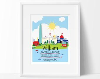 Washington DC art, Washington DC Baby, Personalized Baby Gift, birth stats, birth announcement, Washington DC Skyline, printable nursery