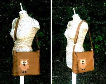 Recycled Leather Crossbody Bag in Caramel Brown with Owl Applique - Upcycled Leather