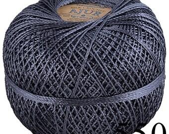 Viscose Silk Yarn: Shining, Superfine Lace weight, bright crochet yarn, color graphite gray grey. Yarn Ajur Ball (550) DSH(P5)