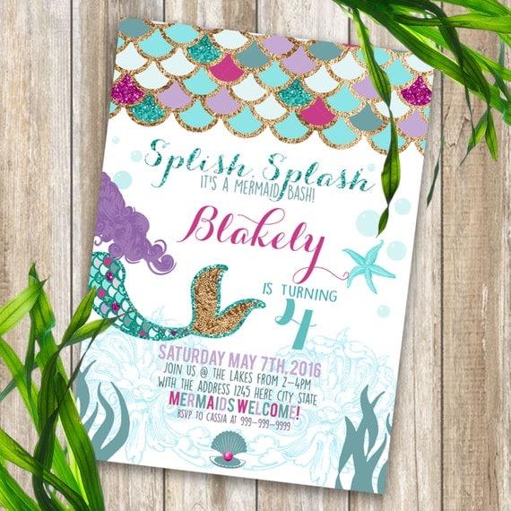 mermaid birthday party invitations with printable, Birthday invitations