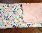 """Sale Riley Blake Pink, Blue, Yellow and Green Floral Girl Blanket with Light Pink Minky 40"""" x 43"""""""