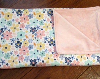 """30% Sale Riley Blake Pink, Blue, Yellow and Green Floral Girl Blanket with Light Pink Minky 40"""" x 43"""""""