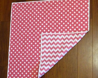 "Sale Reversible Hot Pink Medium Dot and Medium Chevron Baby or Toddler Quilt 37"" x 37"""
