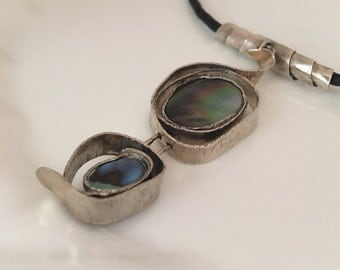 Irredescent Dark Shell & Abalone Sterling Silver Necklace / Shell Necklace Art / Abalone Necklace / Sterling Silver/ Repurposed abalone