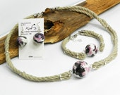 Nature linen set with ceramic balls. Violet, black and white. Natural necklace. Raw jewelry set