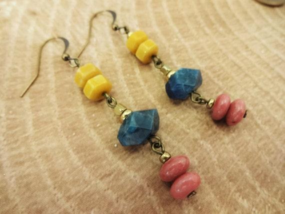 Rustic Boho Earrings, Apatite Nuggets, Rhodonite, Yellow Jasper, Cowgirl Jewelry, Western Style, Boho Chic Jewelry