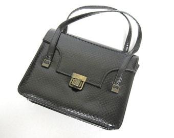 Vintage Black Snakeskin Handbag Firm Sided Purse 50's