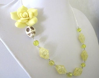 Pale Yellow Sugar Skull Necklace Day of the Dead Jewelry