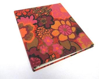 Vintage Notebook Binder 1960s Mod Hot Pink Yellow Orange