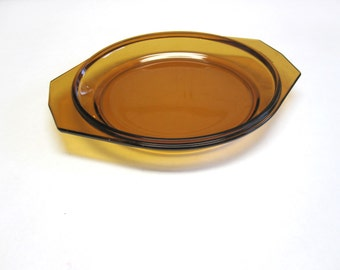 Brown Glass Baking Dish Small Pie Pan Plate Arcopal France