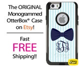 iPhone OtterBox Commuter Case for iPhone 6/6s, 6 Plus/6s Plus, 5/5s, 5c, 4/4s, Galaxy S6 S5 S4 Note 5 4 Monogrammed Seersucker Bow Cell Case
