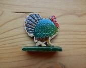 Antique Vintage Erzgebirge Wooden Turkey Hand Painted Toy Christmas Putz