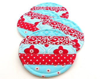 Fabric Coaster Set, Aqua and Red, Colorful Mug Rugs, Quilted Coasters