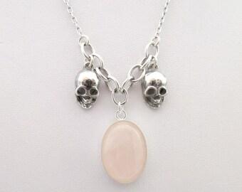 Sugar Skull Pendant Skull Jewelry Skull Jewellery Day of the Dead Jewelry Sterling Silver Necklace Rose Quartz Muertos Jewelry Anatomy 925