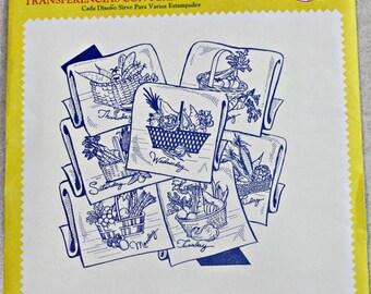 Aunt Martha's Hot Iron Enbroidery Transfer Pattern - Baskets With Vegetables - Uncut / Sealed - Vintage 60's - estate sale find