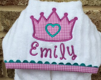 Princess Appliqued Hooded Baby/Toddler Towel - Handmade Personalized Towel - Shower Gift
