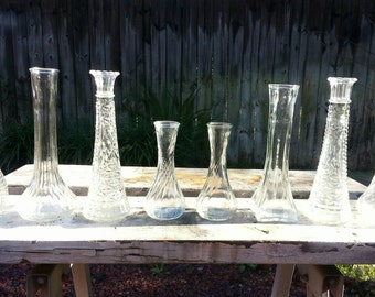 Wedding Vases, Vintage Vases, Clear Bud Vases, Vintage Bud Vases,  Wedding Decor,  Flower Vases, Bridal Shower Decor,