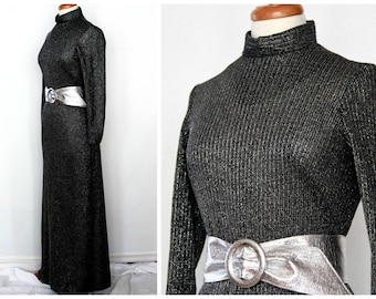 1970s black & silver metallic maxi dress / disco party ladies retro New Years Eve fashion / form fitted sparkly lurex / includes belt size M