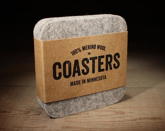 100% Merino Wool Felt Square Coasters - 5mm Thick German-milled Felt - Rich, Lightfast Colors - Natural and Renewable - Grey