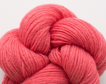 Coral Rose Wool Silk Blend Fingering Weight Reclaimed Yarn, WSK00078