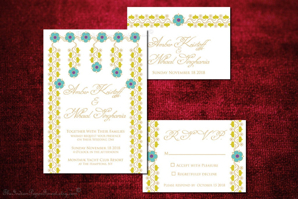 Indian Wedding Invitation Set ZOYA Engagement Party