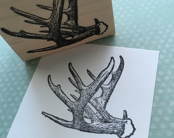 Antlers Wood Mounted Rubber Stamp 3974