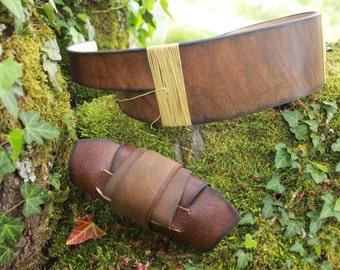 Rey set : leather belt and bracer