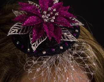 Poinsetta Fascinator in pink and silver