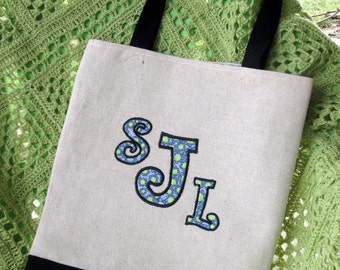 Applique Monogram Tote Bag, Your Initials Shopping Bag, Bridesmaid Gift, Knitting Bag, Crochet Bag, Project Bag, Embroidery Bag, Book Bag