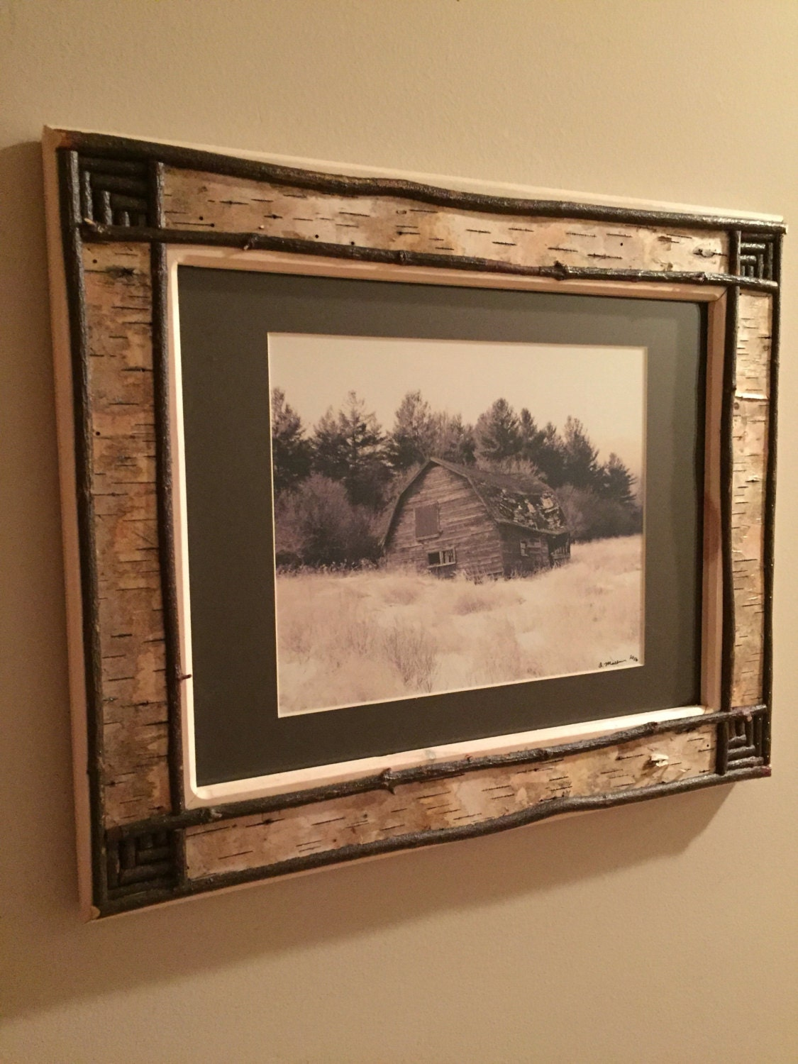 Handcrafted adirondack white birch bark picture frame that