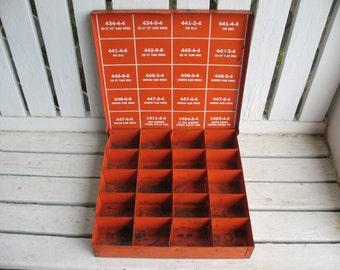 Vintage Metal Box Industrial Sectional Hose Parts Box Stratoflex Parts Organizer