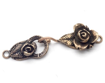 Rose Jewelry Clasp Handmade Bronze