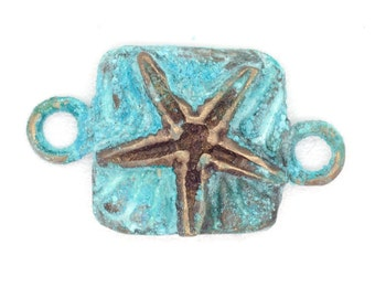 Starfish Link Component in Solid Bronze with Blue Patina