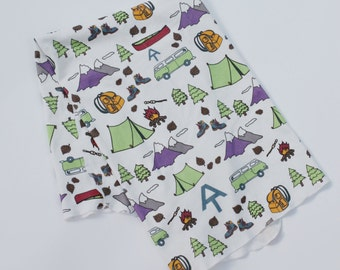 Appalachian Trail Baby Blanket - Trail Symbol Organic Happy Camper  - Swaddle Blanket Camp and Hiking Themed Blanket Tent Canoe Boots Trees