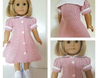 18 Inch American Handmade White Striped Sailor Dress 18 Inch Doll American Handmade